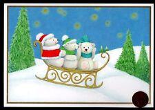 Vintage Hallmark Christmas Polar Bears Teddy Sleigh Christmas Greeting Card New