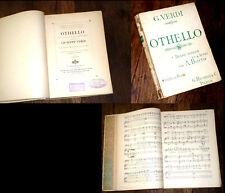 Othello drame lyrique en 4 actes partition piano chant 1910 Verdi