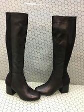 Steve Madden HERO Black Leather/Fabric Side Zip Knee High Boots Women's Size 7.5