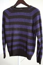FINK Wool Blend Black & Purple Striped Crew-neck Sweater Size - PS