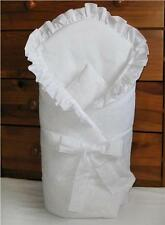 Embroidered Cambric Baby Swaddle Wrap / Newborn Swaddling Blanket /Duvet - White