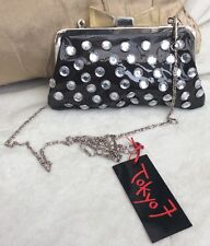 BNWT TOKYO 7 ACROSS THE BODY BLACK PATENT  & JEWEL BOW BAG RRP £20