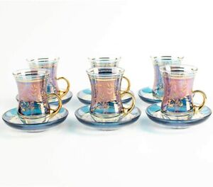 Turkish Tea Cups And Saucers 6 Piece Glass Decors for Serving Blue 100ml Handle