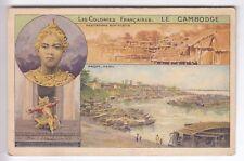 CPA ASIE CAMBODGE  - PNOM-PENH HABITATIONS SUR PILOTI ET DANSEUSES PUB 1910 ~B93