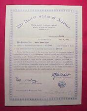 U.S. Treasury Dept. – Bureau Of War Risk Insurance - $5,000 Life Insurance 1918