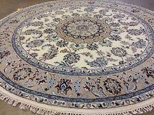 6' X 6' Round Ivory Fine Wool & Silk Floral Oriental Rug Hand Knotted Foyer