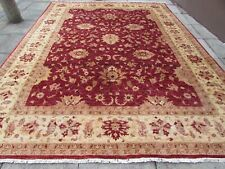 Traditional Hand Made Afghan Oriental Wool Burgundy Red Zigler Carpet 393x297cm