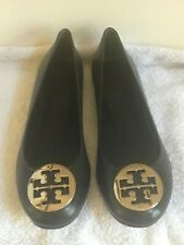 Tory Burch Black Reva Ballet Leather Flats, Size 9.5, BRAND NEW IN BOX