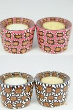 Handmade Polymer Clay Taper & Tea Light Candle Holders- Brown or Pink Design
