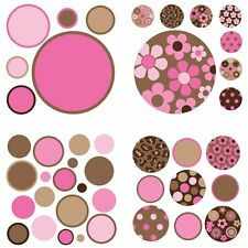 Polka Dot 42 BiG WallPops Stickers Room Decor PINK BROWN Girls Flower Decals B16