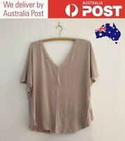 CUTE MAUVE V-NECK TOP - STYLISH BATWING T-SHIRT, SUPRE SIZE S - FREE POST (NEW)