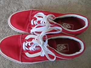 Vans  Low Top Red Sneakers Men 9 Shoes With White Laces Plain Toes