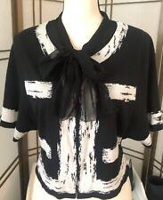MOTH Anthropologie Sweater M Black & White Light Knit Top Hook Eye Georgette Bow
