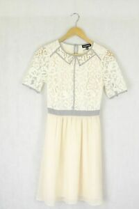 Warehouse Size 8 Cream Lace Dress by Reluv Clothing