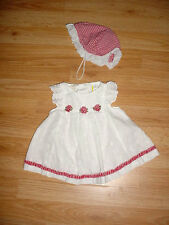 Vtg-Little Bitty-Infant Baby Girl Doll-Red White Eyelit Lace-Check Dress-Hat-6-9