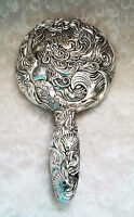 Vintage look~Decorative mermaid and shell patterned hand mirror-VGC