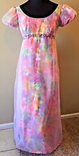 Vintage 1970s Guiseppe Pink Floral Translucent Chiffon Maxi Prom Dress XS S DS9