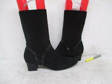 Cole Haan Black Suede Leather Zip Mid Calf Fashion Boots Size 9 AA Style D20298
