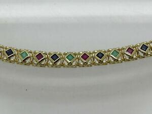 "14k Yellow Gold Over Princess 8.40 CT Sapphire Ruby Emerald Panel Bracelet 7.25"""