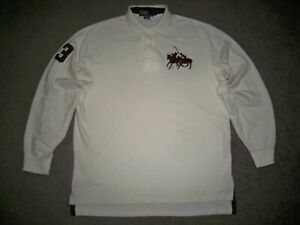 Men's POLO RALPH LAUREN L/S Rugby Polo L OFF-WHITE w/Brown POLO RACING & No. 3