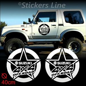 2 Adhésifs Étoile 40 CM Tout Terrain Suzuki 4X4 Santana Samurai Stickers Off