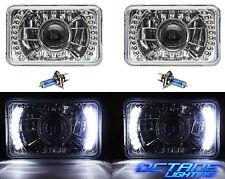 "4X6"" White LED Halo Projector Halogen Crystal Clear Headlamp Headlight Bulb Pair"