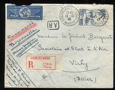 Maroc- Enveloppe en reco. AR de Casablanca pour Ministère de l 'Air à Vichy 1940