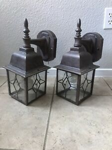 "Pair Of Outdoor Wall Light Fixture for 1 Bulb 13.5"" Tall Item Number 24225"