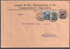 GERMANY 1923 Infla domestic Cover with Mi 319, 336+private franking Befund Meyer