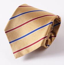 "New E.MARINELLA NAPOLI Gold-Burgundy-Navy Stripe Classic 3.5"" Silk Tie"