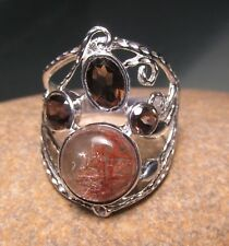 Sterling silver rutilated quartz/smoky quartz ring UK Q-Q¼/US 8.25-8.5. Gift bag