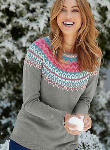 Brand New Ladies Ex Bon Marche Grey Fairisle Yoke Jumper Knitwear