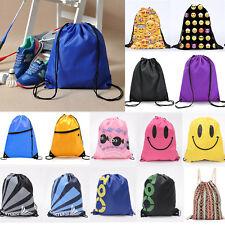 Unisex Gym Drawstring Backpack Sports Swim Training Pack School Shoes String Bag