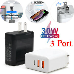 For iPhone 12 Pro Max/13/11 30W USB Type-C Wall Fast Charger PD Power Adapter