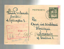1941 GG Konskie Poland Censored Postal Stationery Postcard Cover to Krakow Aid