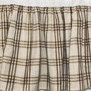 "Lauren Ralph Lauren King Bedskirt Dust Ruffle Plaid Camel Tan Farmhouse 15"" Drop"
