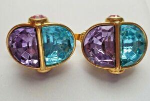 Signed Trifari ~ Vintage Rhinestone Clip on Earrings ~ blue pink purple