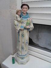 Vintage Statue biscuit St Antoine de Padoue monk St Anthony of Padua and  jesus