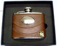 Special Offer: 4oz Brown Leather Hip Flask Captive Lid and Free Engraving (fl29)