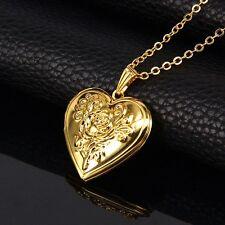 18K Gold Rose Design Photo Locket Pendant Chain Necklace *UK*