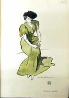Original Old Antique Print Roubille Lady Green Dress 1912 Colour 20th Century