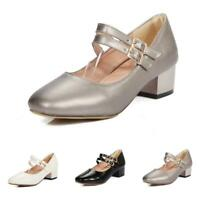 Women's Office Work Low Heel Square Toe Mary Janes Lolita Casual Shoes 44-48 D