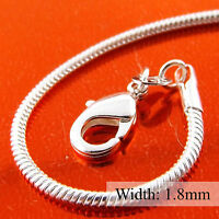Necklace Pendant Chain Genuine Real 925 Sterling Silver S/F Solid Snake Design
