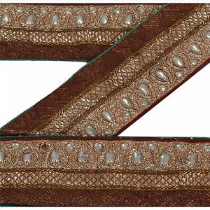 Sanskriti Vintage Brown Sari Border Hand Beaded Indian Craft Trim Sewing Lace