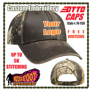 CAMO HATS / CAPS Custom Embroidery up to 5k Stitching Free Digitizing - BIGFOOT
