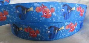 NEW Finding Nemo Blue Grossgrain Ribbon 22mm - 1M,2M,3M,4M or 5M - U Choose