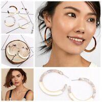 Women Lady Leopard Resin Acryclic Hook Hoop Drop Dangle Fashion Earrings Gift