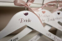 Wedding Bridal Party Vinyl Coat hanger sticker Role/Name/Date Rose Gold Stickers