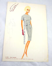 VINTAGE FASHION SKETCH PLATE DRAWING ITALY ITALIAN SIXTY FIFTY COUTURE 1950 1960