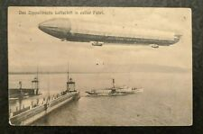 1908 Zeppelin Airship Flying Over a Steamer Basel Switzerland RPPC Cover
